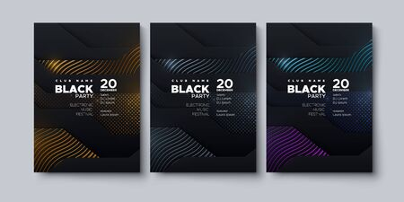 Electronic music festival. Modern posters design. Black party invitation. Abstract background. Black geometric wavy layers with metallic ornaments. Vector illustration. Club invitation template.
