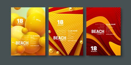 Electronic music festival ads poster. Modern club beach party invitation. Vector illustration. Abstract dynamic spheres and layered paper shapes decorations. Dance music event cover. Brochure template Ilustracja