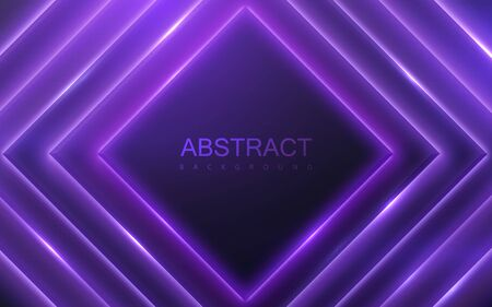 Black geometric square shapes with neon glowing light. Abstract 3d background. Vector illustration of purple electric lights. Modern cover design. Creative banner layout Ilustracja
