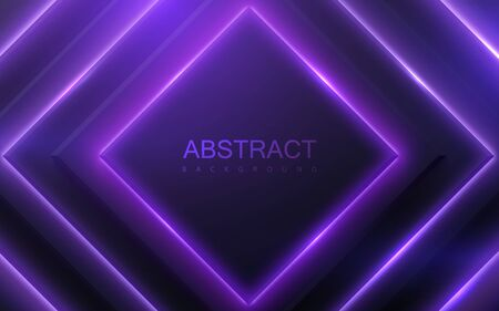 Black geometric shapes with neon glowing light. Abstract 3d background. Vector illustration of purple electric lights. Modern cover design. Creative banner layout