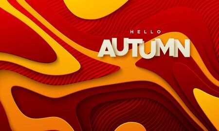 Hello autumn. Modern cover design. Vector seasonal 3d illustration. Abstract background with red and orange topographic layers. Minimal composition with wavy papercut relief and paper label