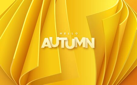 Hello autumn. Modern cover design. Vector seasonal 3d illustration. Abstract background with orange curled sheets and paper label. Minimal composition