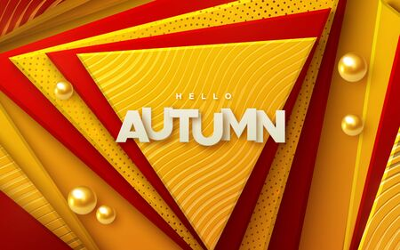 Hello autumn. Modern cover design. Vector seasonal 3d illustration. Abstract background with red and orange geometric shapes. Minimal composition with colorful papercut triangles, spheres, paper label