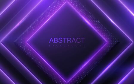 Neon glowing light geometric shapes. Abstract 3d background. Vector illustration of ultraviolet electric lights. Modern cover design. Creative banner layout. Disco or nightlife decoration