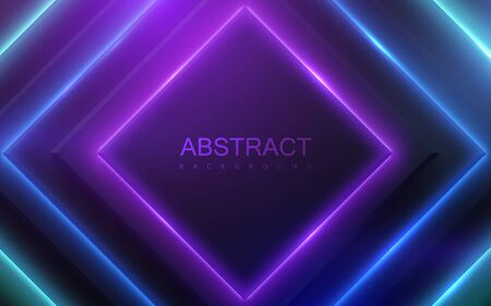 Black geometric square shapes with neon glowing light. Abstract 3d background. Vector illustration of multicolored electric lights. Modern cover design. Creative banner layout. Futuristic decoration Vetores