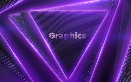 Neon glowing light geometric shapes. Abstract 3d background. Vector illustration of violet electric lights. Modern cover design. Creative banner layout. Disco or nightlife decoration