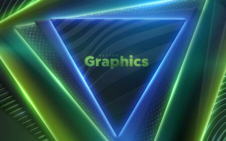 Neon glowing lights. Geometric triangle shapes. Abstract 3d background. Vector illustration. Modern cover design. Creative banner layout. Disco or nightlife decoration