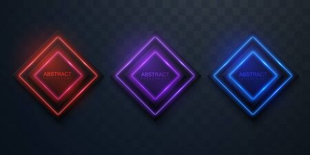 Glowing neon signs. Vector 3d illustration. Isolated geometric shapes for decoration design. Modern banner template. Neon light boards. Banner sale tags. Stock Illustratie