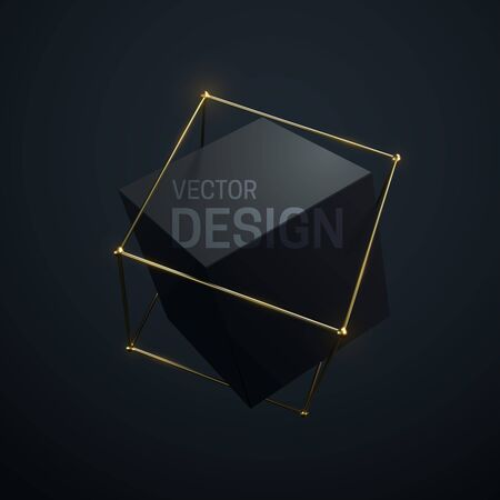 Abstract geometric composition with black cube and golden lattice structure. Vector 3d illustration. Luxury banner template. Geometry objects. Fashion composition. Jewelry label design Ilustrace
