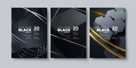 Electronic music festival. Modern posters design. Black party invitation. Abstract background. Black, golden and silver geometric shapes. Vector illustration. Club invitation template.