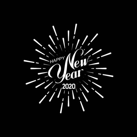 Happy 2020 New Year. Holiday Vector Illustration With Lettering Composition And Bursting Fireworks shape. Congratulation sign