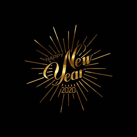 Happy 2020 New Year. Holiday Vector Illustration With Lettering Composition And Burst. Golden Textured Vintage Label. Congratulation And Firework Shape Sign Ilustração