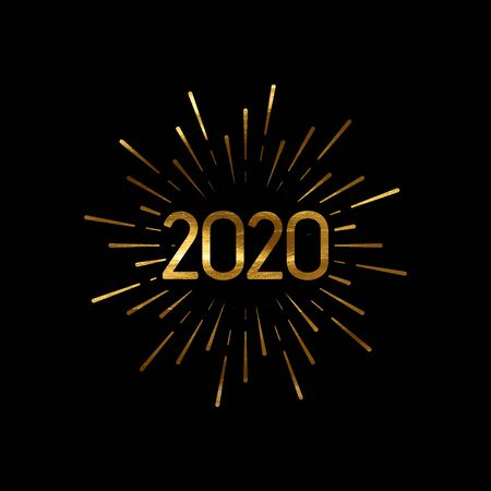 Happy 2020 New Year. Holiday Vector Illustration With Lettering And Burst Or Light Rays. Golden Textured Happy New Year Label Stock Illustratie