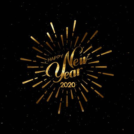 Happy 2020 New Year. Holiday Vector Illustration With Lettering Composition And Burst. Golden Textured Vintage Label