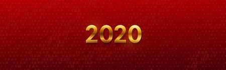 Happy New 2020 Year. Vector holiday illustration. Seasonal festive banner concept. Red background with golden typography halftone pattern. Greeting card or party invitation sign template