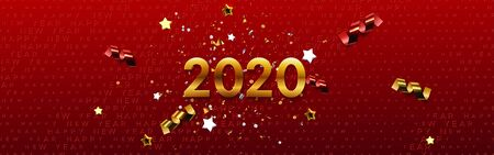 Happy New 2020 Year. Vector holiday illustration. Festive banner concept. Red background with golden typography halftone pattern and sparkling tinsel. Greeting card or party invitation sign template Ilustração