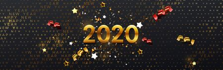 Happy New 2020 Year. Vector holiday illustration. Festive banner concept. Black background with golden typography halftone pattern and sparkling tinsel. Greeting card or party invitation sign template