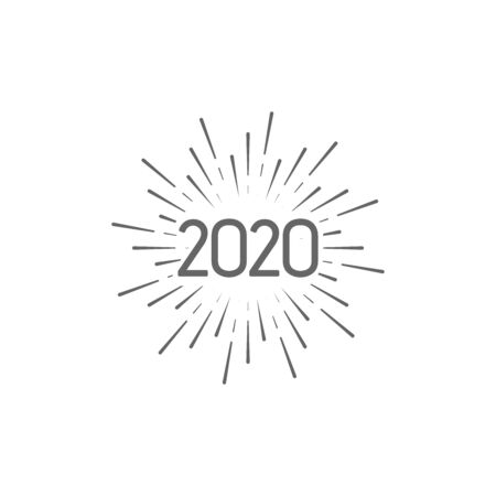 Happy New 2020 Year. Holiday vector illustration with typographic composition. Happy New Year 2020 label with star burst. NYE  design with firework or sparkler shape Ilustração