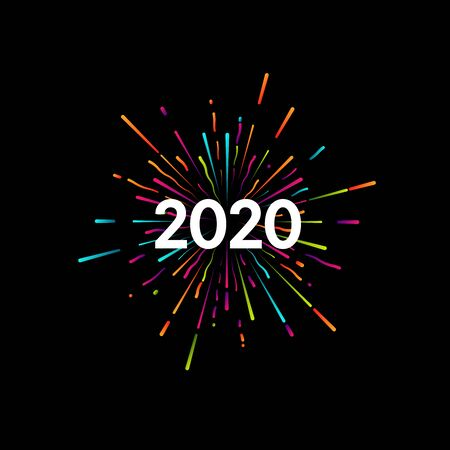 Happy New 2020 Year. Holiday vector illustration with festive typographic composition. New Year 2020 Label With Graphic Multicolored Firework Shape. Happy NYE Design