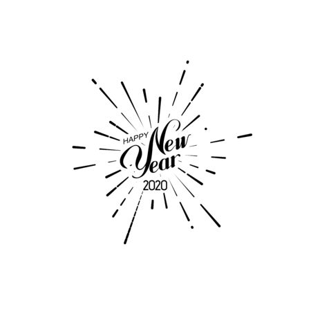 Happy 2020 New Year. Holiday Vector Illustration With Lettering Composition And Bursting Fireworks shape.