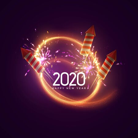 2020. Happy New Year. Holiday vector illustration. Festive light banner with sparkling firework rockets, fireworks, flashes and text label. New Year poster template design.