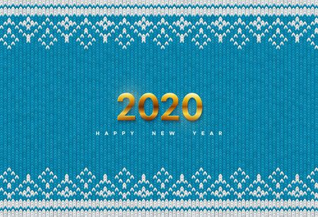 Happy New 2020 Year. Holiday vector illustration of golden metallic numbers 2020 on blue knitted background. Realistic sign. Yarn fabric with traditional ornament. Festive poster or banner design