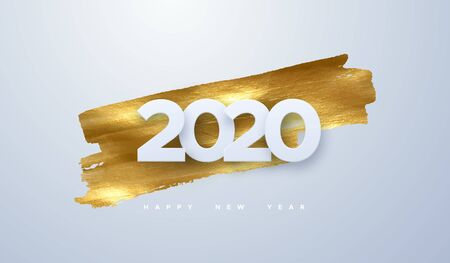 Happy New 2020 Year. Vector holiday illustration of paper cut numbers on golden paint background. Festive event banner. Decoration element for poster or cover design