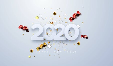 Happy New 2020 Year. Vector holiday illustration of paper cut numbers with sparkling confetti particles, golden stars and streamers. Festive event banner. Decoration element for poster or cover design Stock Illustratie