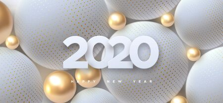 Happy New 2020 Year. Holiday vector illustration of white paper numbers 2020 and abstract balls or bubbles. 3d sign. Festive poster or banner design. Party invitation