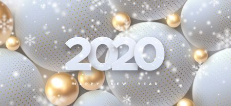 Happy New 2020 Year. Holiday vector illustration of white paper numbers 2020 and abstract balls or bubbles. Festive poster or banner design. Party invitation with falling snowflakes overlay texture
