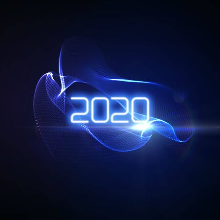 Happy New 2020 Year. Futuristic glowing neon light splash with bursting light rays. Vector holiday illustration. Festive New Year 2020 party sign. Decoration element for design
