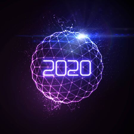 Happy New 2020 Year. Futuristic glowing neon light sphere with bursting light rays. Vector holiday illustration. Festive New Year 2020 party sign. Decoration element for design
