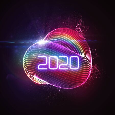Happy New 2020 Year. Vector holiday illustration of glowing neon 2020 sign and shiny abstract luminous iridescent shape with splash of particles. NYE party invitation design element