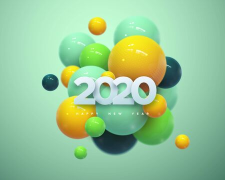 Happy New 2020 Year. Holiday vector illustration of white paper numbers 2020 and abstract colorful balls or bubbles. 3d sign. Festive poster or banner design. NYE party invitation