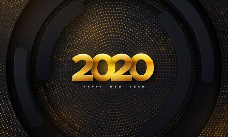 Happy New 2020 Year. Vector holiday illustration. Papercut golden numbers on black geometric background. Festive event banner. Paper shapes and glitters. Decoration element for poster or cover design Ilustração