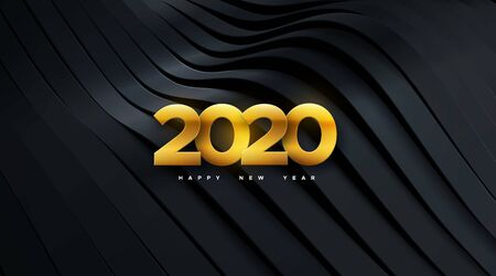 Happy New 2020 Year. Vector holiday illustration. Papercut golden numbers on black geometric background. Festive event banner. Decoration element for poster or cover design