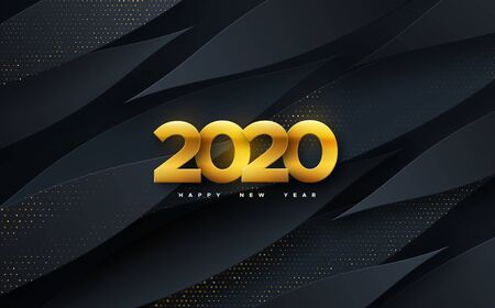 Happy New 2020 Year. Vector holiday illustration. Papercut golden numbers on black geometric background. Festive event banner. Paper shapes and glitters. Decoration element for poster or cover design  イラスト・ベクター素材