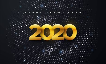 Happy New 2020 Year. Vector holiday illustration. Golden numbers on black background textured with shimmering silver glitters. Festive event banner. Decoration element for poster or cover design