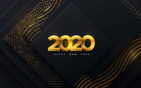 Happy New 2020 Year. Vector holiday illustration. Papercut golden numbers on black geometric background. Festive event banner. Paper shapes with glitters and wavy pattern. Poster or cover design