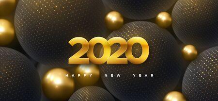 Happy New 2020 Year. Holiday vector illustration of golden numbers 2020 and abstract black balls or bubbles. 3d sign. Festive poster or banner design. Party invitation