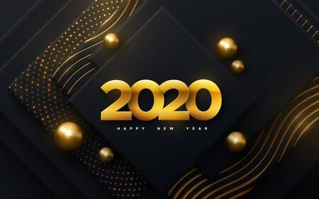 Happy New 2020 Year. Vector holiday illustration. Papercut golden numbers. Black geometric background. Festive event banner. Paper shapes with glitters, wavy pattern and balls. Poster or cover design Stock Illustratie