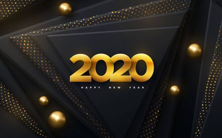 Happy New 2020 Year. Vector holiday illustration. Papercut golden numbers. Black geometric background. Festive event banner. Paper shapes with shimmering glitters and balls. Poster or cover design