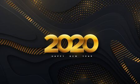 Happy New 2020 Year. Vector holiday illustration. Papercut golden numbers. Layered black background. Festive event banner. Paper shapes with shimmering glitters and wavy pattern. Trendy cover design