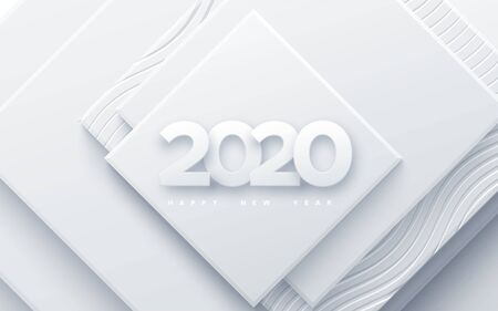 Happy New 2020 Year. Vector holiday illustration. Paper 3d numbers on white abstract background. Festive event banner. Geometric square shapes. Decoration element for poster or cover design Ilustração