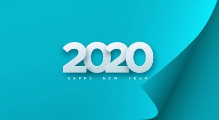 Happy New 2020 Year. Vector holiday illustration. White numbers on blue paper sheet background. Festive event banner. Decoration element for poster or cover design Ilustração