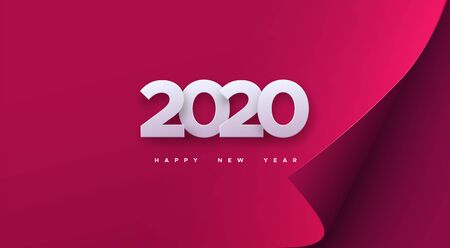 Happy New 2020 Year. Vector holiday illustration. White numbers on red paper sheet background. Festive event banner. Decoration element for poster or cover design