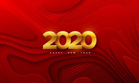 Happy New 2020 Year. Vector holiday illustration. Papercut golden numbers. Abstract topographic background. Festive event banner. Red paper shapes with engraved wavy pattern. Trendy cover design