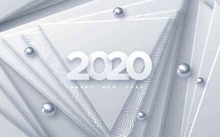 Happy New 2020 Year. Vector holiday illustration. Paper 3d numbers on white abstract background. Festive banner. Geometric triangle shapes and spheres. Decoration element for poster or cover design