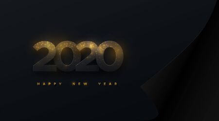 Happy New 2020 Year. Vector holiday illustration. Black numbers taxtured with golden glitters on curled paper sheet background. Festive event banner. Decoration element for poster or cover design