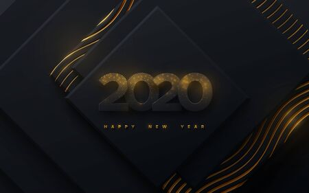 Happy New 2020 Year. Vector holiday illustration. Black paper numbers textured with glittering golden particles on geometric background. Festive banner. Decoration element for poster or cover design